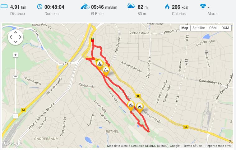 Daten und Strecke meiner ersten Nordic Walking Tour.