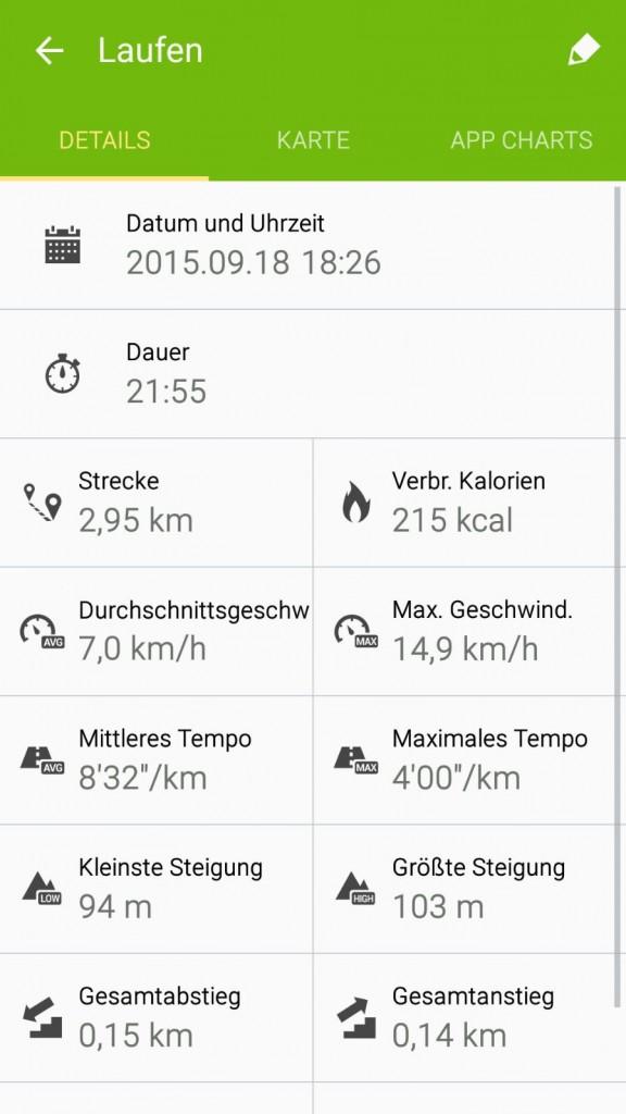 Jogging-Strecke und Zeit vom Freitag.